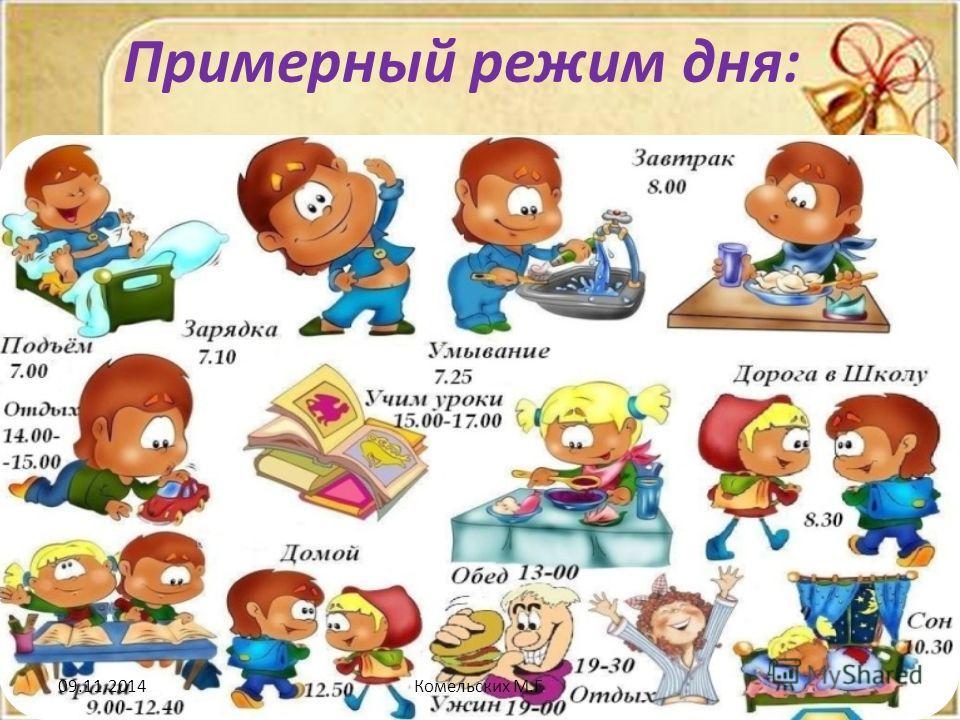 Примерный режим дня: 09.11.2014Комельских М.Г.