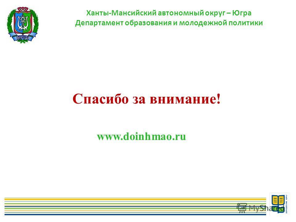 11 Спасибо за внимание! www.doinhmao.ru Ханты-Мансийский автономный округ – Югра Департамент образования и молодежной политики