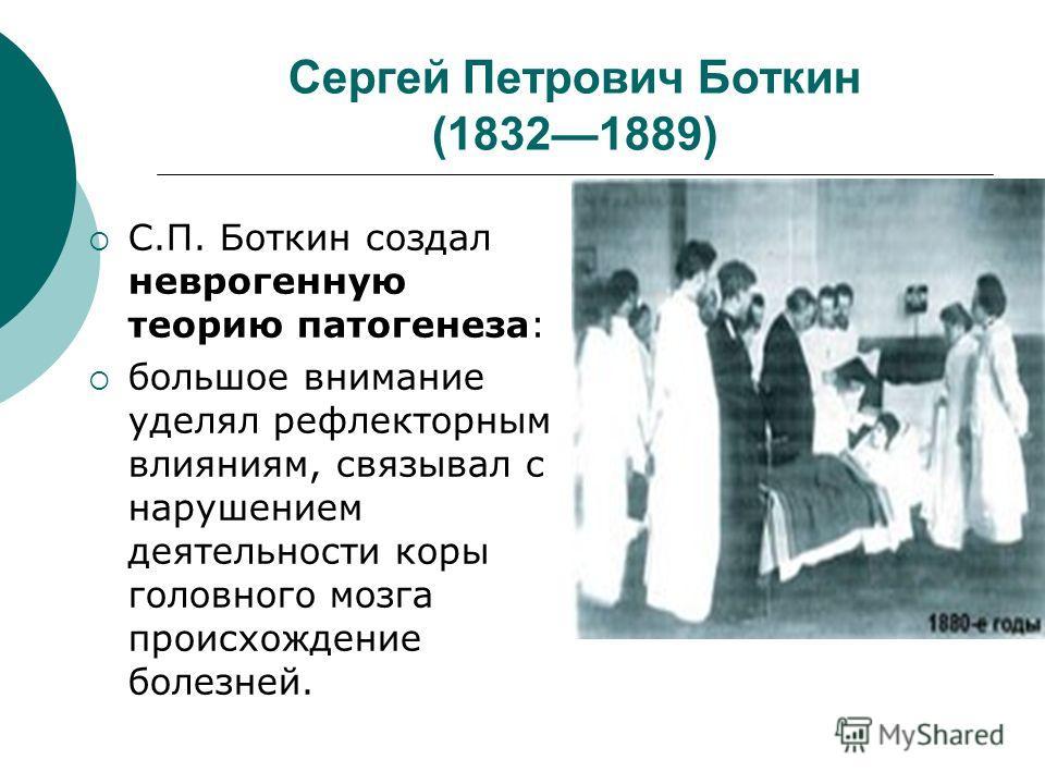 Сергей Петрович Боткин (18321889) С.П. Боткин создал неврогенную теорию патогенеза: большое внимание уделял рефлекторным влияниям, связывал с нарушением деятельности коры головного мозга происхождение болезней.
