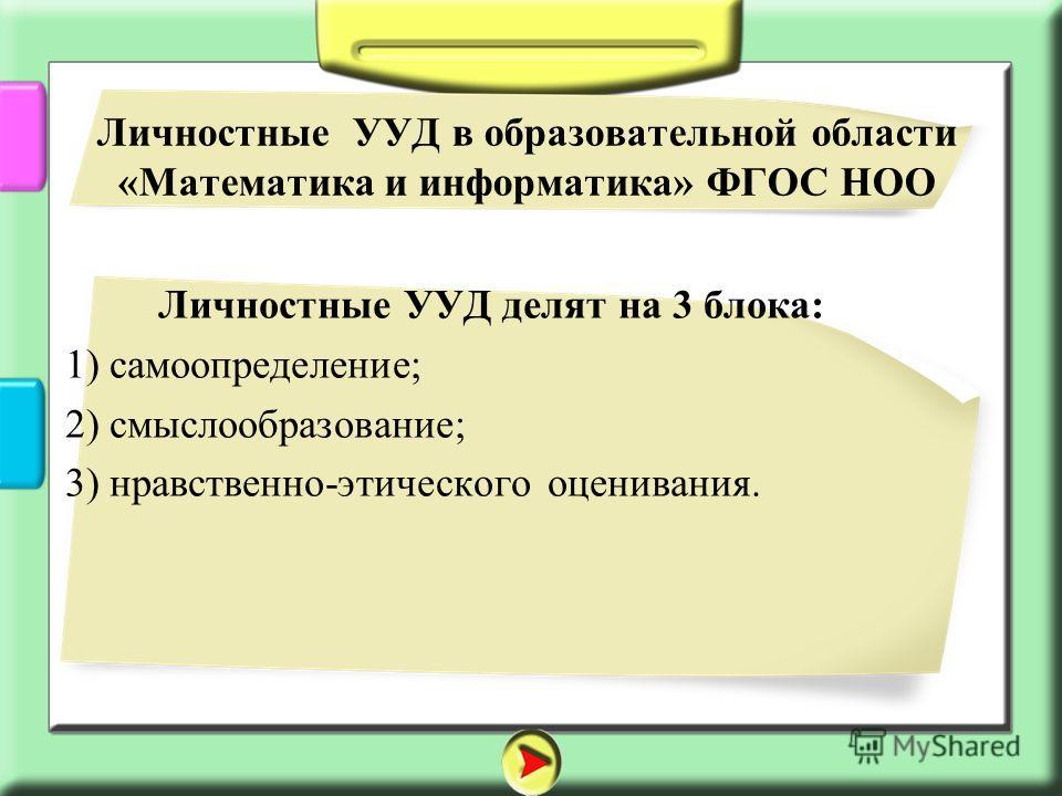 Личностные УУД делят на 3 блока: 1) самоопределение; 2) смыслообразование; 3) нравственно-этического оценивания. Личностные УУД в образовательной области «Математика и информатика» ФГОС НОО