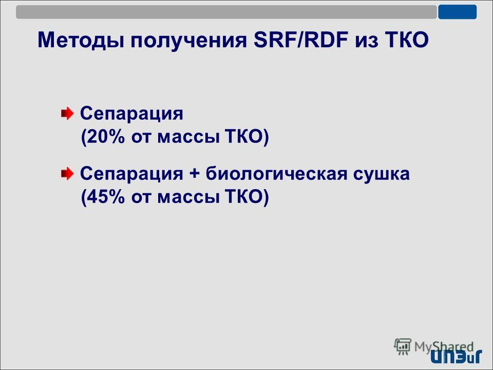 Методы получения SRF/RDF из ТКО Сепарация + биологическая сушка (45% от массы ТКО) Сепарация (20% от массы ТКО)