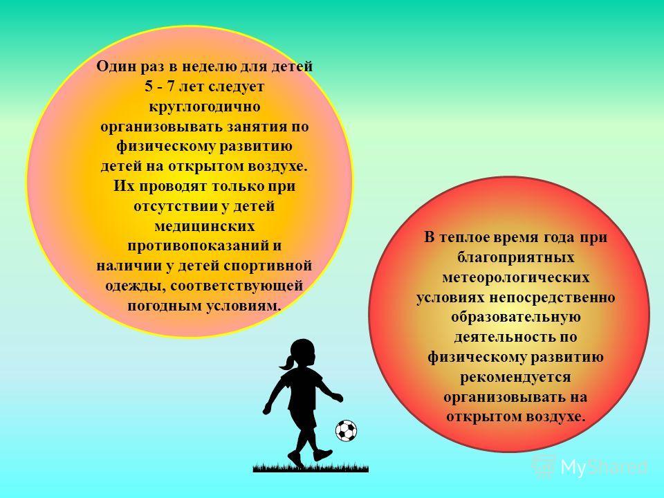 Один раз в неделю для детей 5 - 7 лет следует круглогодично организовывать занятия по физическому развитию детей на открытом воздухе. Их проводят только при отсутствии у детей медицинских противопоказаний и наличии у детей спортивной одежды, соответс
