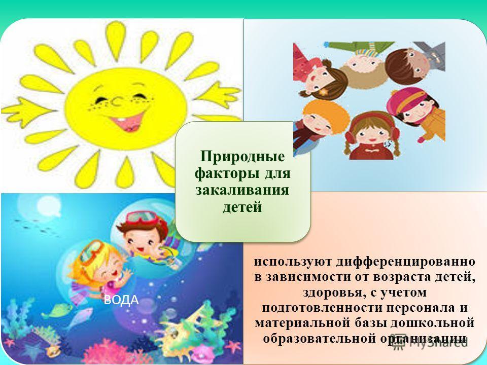 ВОДА используют дифференцированно в зависимости от возраста детей, здоровья, с учетом подготовленности персонала и материальной базы дошкольной образовательной организации Природные факторы для закаливания детей ВОЗДУХ
