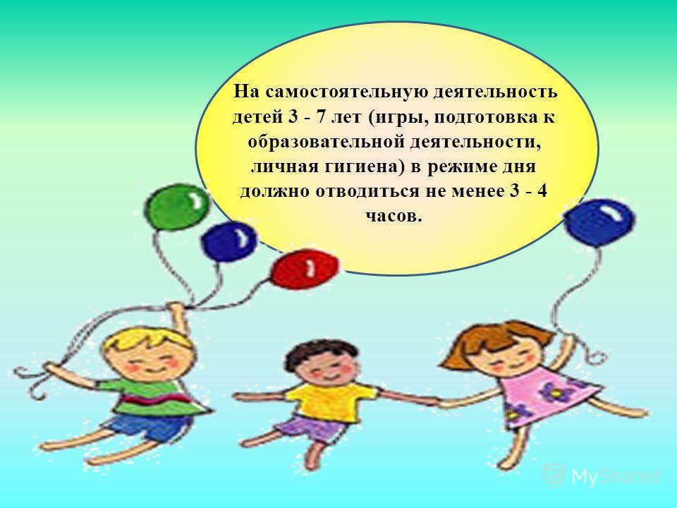 На самостоятельную деятельность детей 3 - 7 лет (игры, подготовка к образовательной деятельности, личная гигиена) в режиме дня должно отводиться не менее 3 - 4 часов.