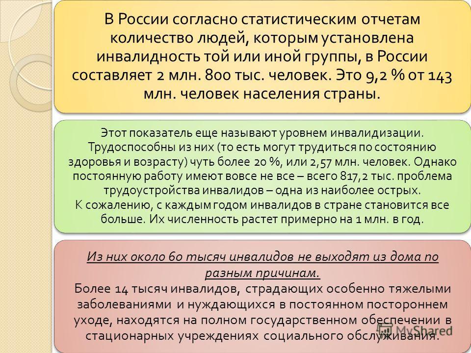 В России согласно статистическим отчетам количество людей, которым установлена инвалидность той или иной группы, в России составляет 2 млн. 800 тыс. человек. Это 9,2 % от 143 млн. человек населения страны. Этот показатель еще называют уровнем инвалид