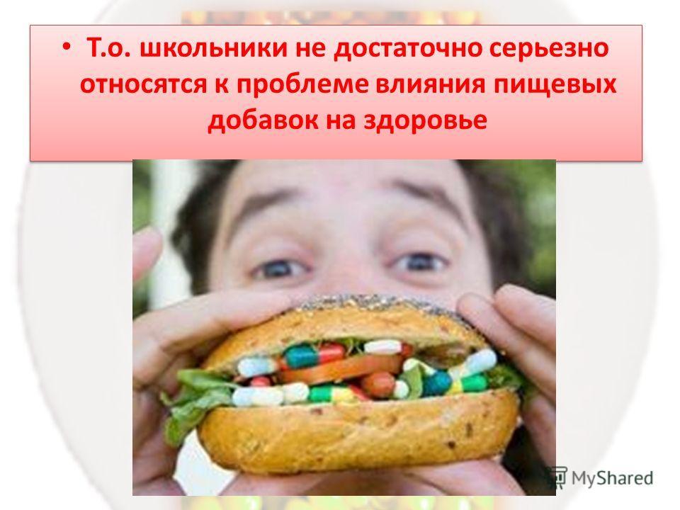 Т.о. школьники не достаточно серьезно относятся к проблеме влияния пищевых добавок на здоровье