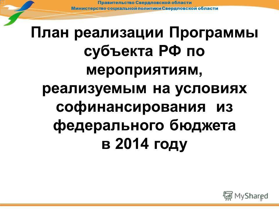 План реализации Программы субъекта РФ по мероприятиям, реализуемым на условиях софинансирования из федерального бюджета в 2014 году 9