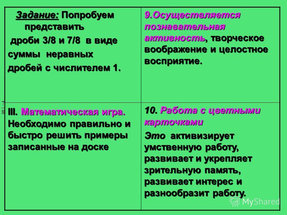 Задание: Попробуем представить Задание: Попробуем представить дроби 3/8 и 7/8 в виде дроби 3/8 и 7/8 в виде суммы неравных дробей с числителем 1. 9. Осуществляется познавательная активность, творческое воображение и целостное восприятие. III. Математ