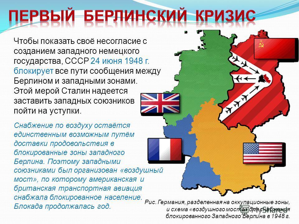 Рис. Германия, разделенная на оккупационные зоны, и схема «воздушного моста» для снабжения блокированного Западного Берлина в 1948 г. Чтобы показать своё несогласие с созданием западного немецкого государства, СССР 24 июня 1948 г. блокирует все пути