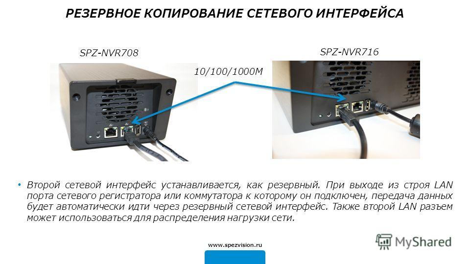 10/100/1000M SPZ-NVR716 Второй сетевой интерфейс устанавливается, как резервный. При выходе из строя LAN порта сетевого регистратора или коммутатора к которому он подключен, передача данных будет автоматически идти через резервный сетевой интерфейс.