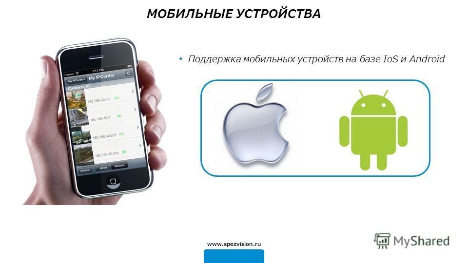 www.spezvision.ru Поддержка мобильных устройств на базе IoS и Android МОБИЛЬНЫЕ УСТРОЙСТВА
