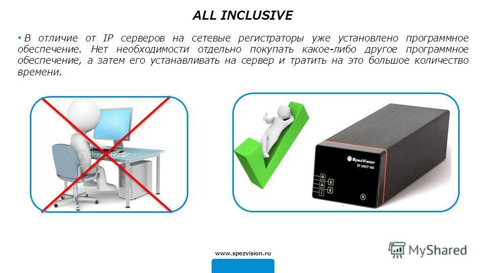 В отличие от IP серверов на сетевые регистраторы уже установлено программное обеспечение. Нет необходимости отдельно покупать какое-либо другое программное обеспечение, а затем его устанавливать на сервер и тратить на это большое количество времени.