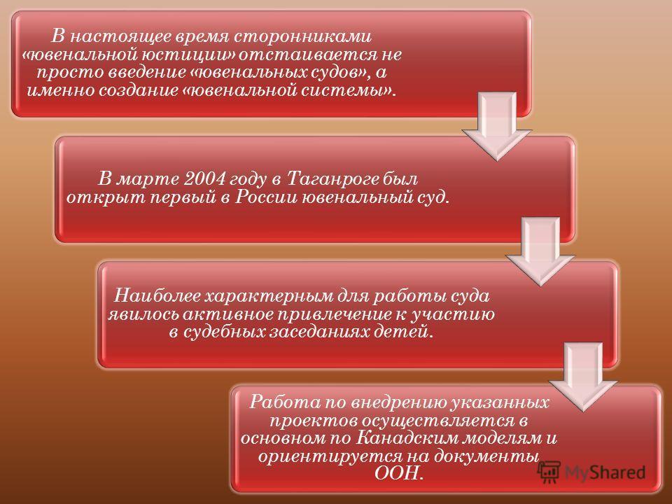 В настоящее время сторонниками «ювенальной юстиции» отстаивается не просто введение «ювенальных судов», а именно создание «ювенальной системы». В марте 2004 году в Таганроге был открыт первый в России ювенальный суд. Наиболее характерным для работы с