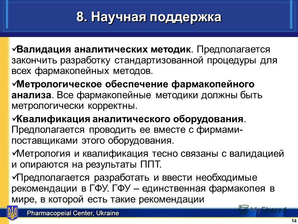 Pharmacopeial Center, Ukraine 8. Научная поддержка 14 Валидация аналитических методик. Предполагается закончить разработку стандартизованной процедуры для всех фармакопейных методов. Метрологическое обеспечение фармакопейного анализа. Все фармакопейн