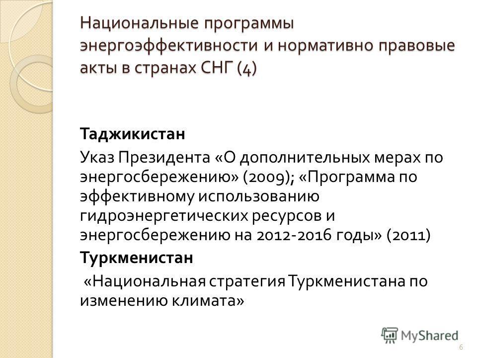 Национальные программы энергоэффективности и нормативно правовые акты в странах СНГ (4) Таджикистан Указ Президента « О дополнительных мерах по энергосбережению » (2009); « Программа по эффективному использованию гидроэнергетических ресурсов и энерго