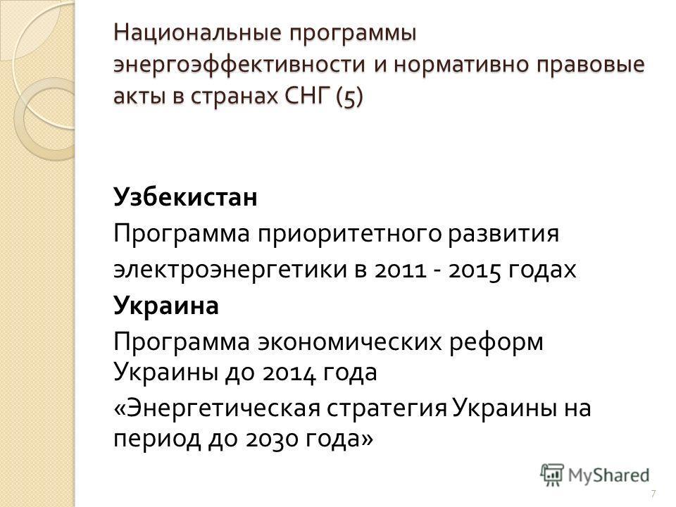 Национальные программы энергоэффективности и нормативно правовые акты в странах СНГ (5) Узбекистан Программа приоритетного развития электроэнергетики в 2011 - 2015 годах Украина Программа экономических реформ Украины до 2014 года « Энергетическая стр