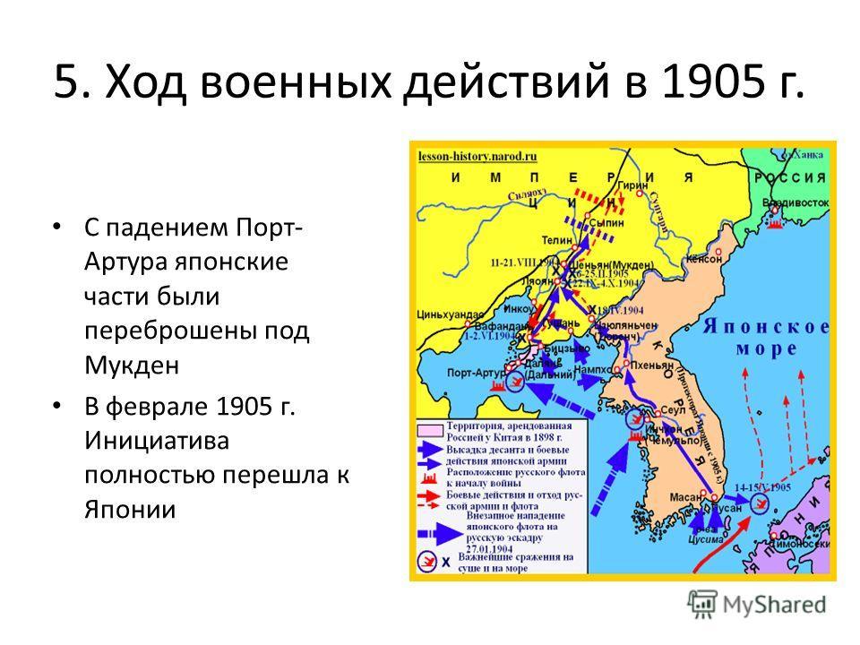 5. Ход военных действий в 1905 г. С падением Порт- Артура японские части были переброшены под Мукден В феврале 1905 г. Инициатива полностью перешла к Японии