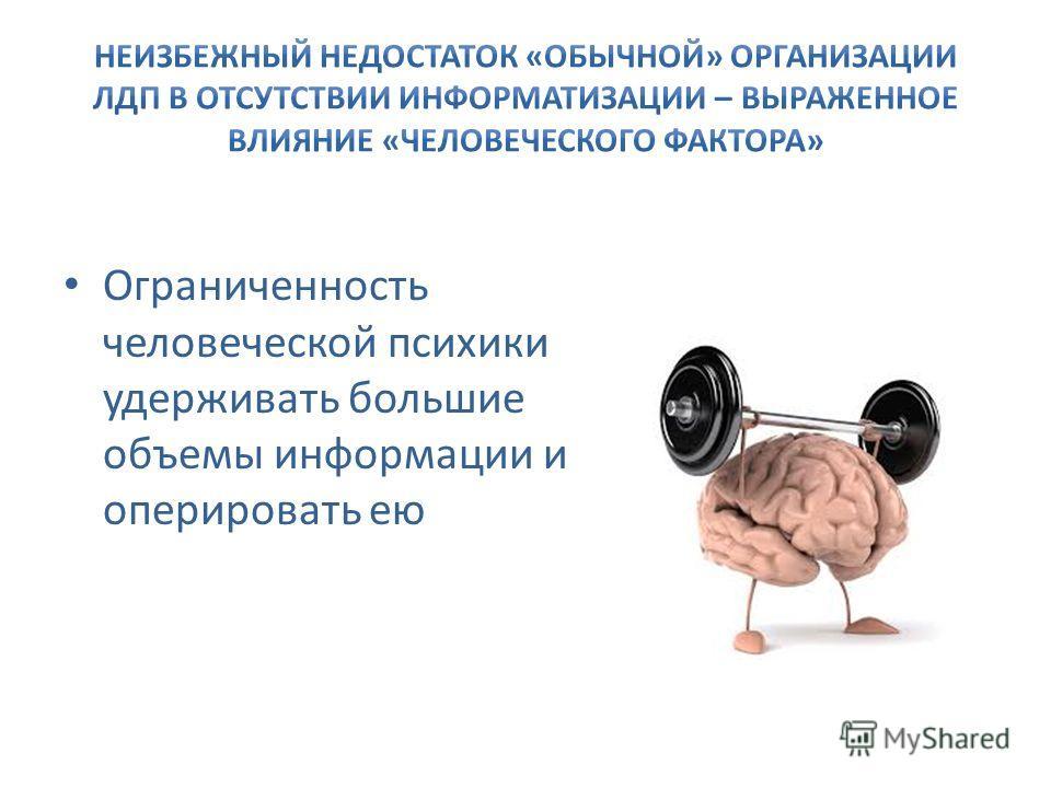 Ограниченность человеческой психики удерживать большие объемы информации и оперировать ею