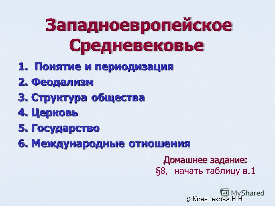 Домашнее задание: §8, начать таблицу в.1 © Ковалькова Н.Н 1. Понятие и периодизация 2. Феодализм 3. Структура общества 4. Церковь 5. Государство 6. Международные отношения