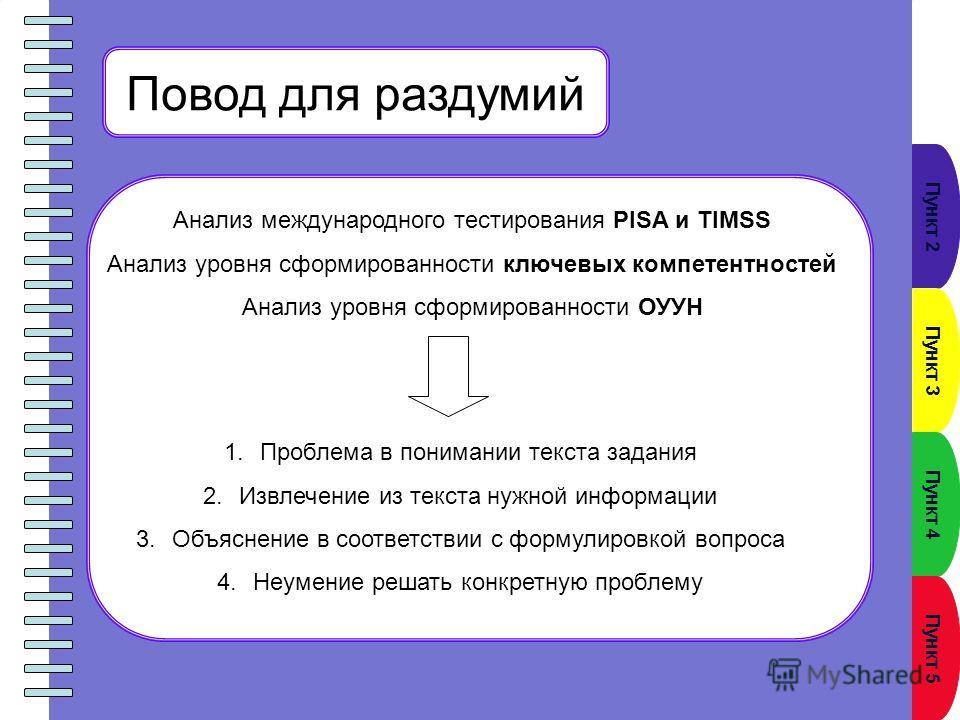 Пункт 2 Пункт 3 Пункт 4 Пункт 5 Повод для раздумий Анализ международного тестирования PISA и TIMSS Анализ уровня сформированности ключевых компетентностей Анализ уровня сформированности ОУУН 1. Проблема в понимании текста задания 2. Извлечение из тек