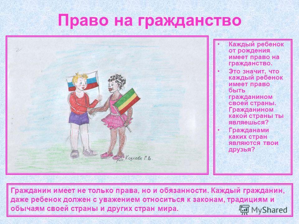 Право на гражданство Каждый ребенок от рождения имеет право на гражданство. Это значит, что каждый ребенок имеет право быть гражданином своей страны. Гражданином какой страны ты являешься? Гражданами каких стран являются твои друзья? Гражданин имеет