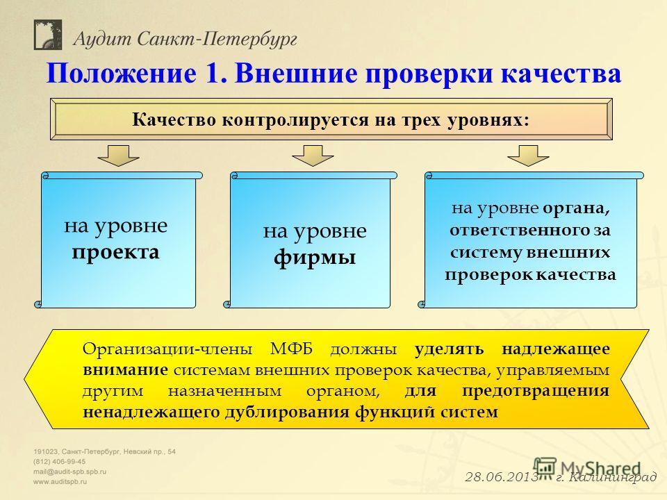 Положение 1. Внешние проверки качества на уровне проекта на уровне фирмы на уровне органа, ответственного за систему внешних проверок качества Качество контролируется на трех уровнях: Организации-члены МФБ должны уделять надлежащее внимание системам