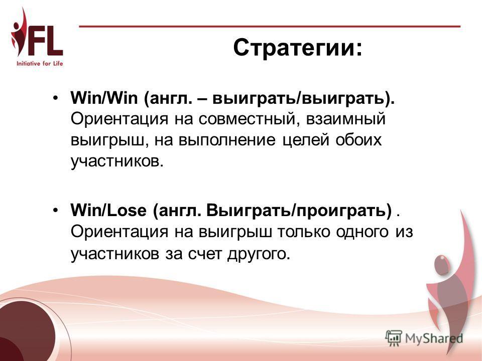Стратегии: Win/Win (англ. – выиграть/выиграть). Ориентация на совместный, взаимный выигрыш, на выполнение целей обоих участников. Win/Lose (англ. Выиграть/проиграть). Ориентация на выигрыш только одного из участников за счет другого. 7