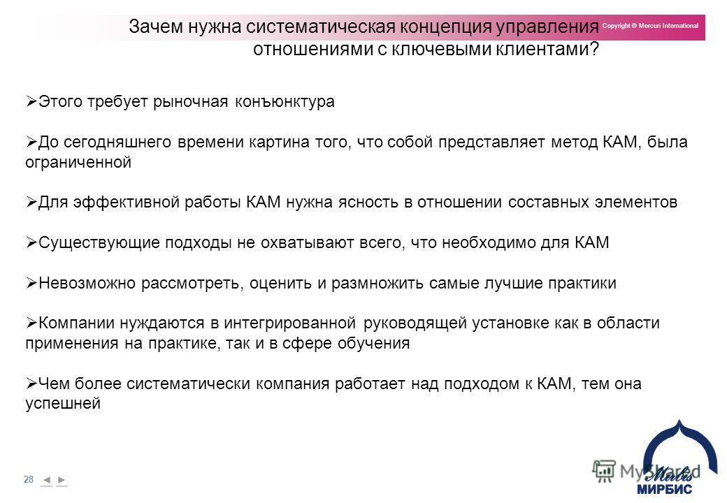 28 Copyright © Mercuri International Зачем нужна систематическая концепция управления отношениями с ключевыми клиентами? Этого требует рыночная конъюнктура До сегодняшнего времени картина того, что собой представляет метод КАМ, была ограниченной Для
