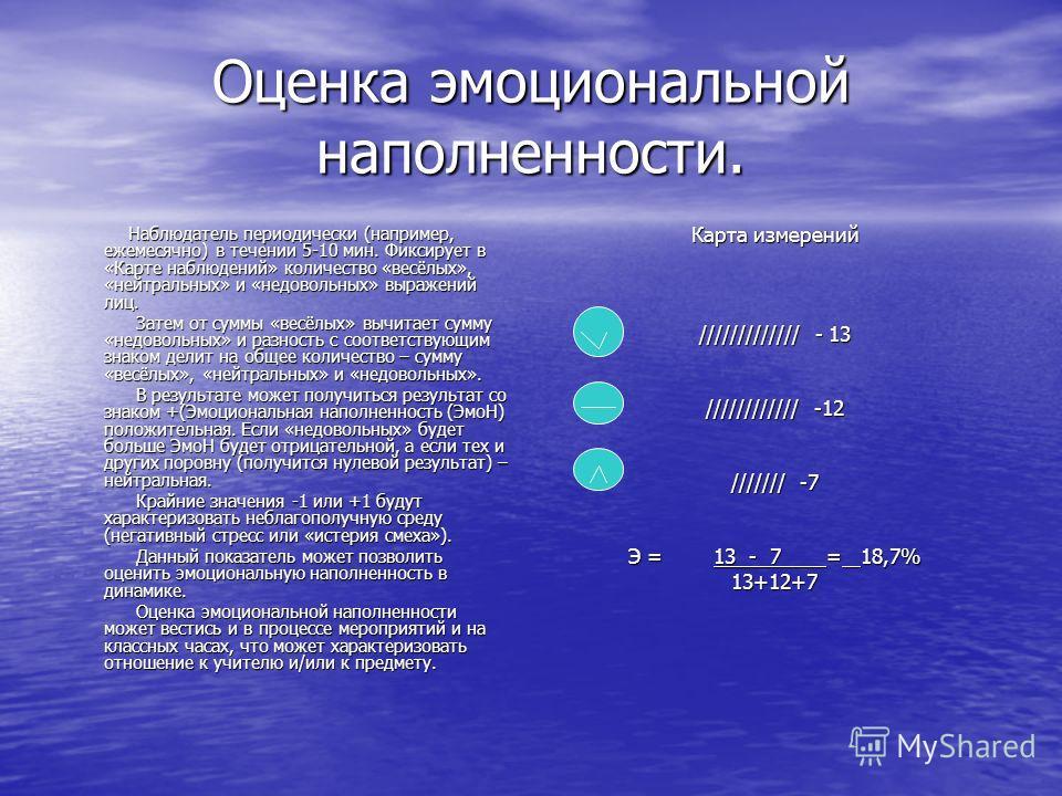 Оценка эмоциональной наполненности. Наблюдатель периодически (например, ежемесячно) в течении 5-10 мин. Фиксирует в «Карте наблюдений» количество «весёлых», «нейтральных» и «недовольных» выражений лиц. Наблюдатель периодически (например, ежемесячно)