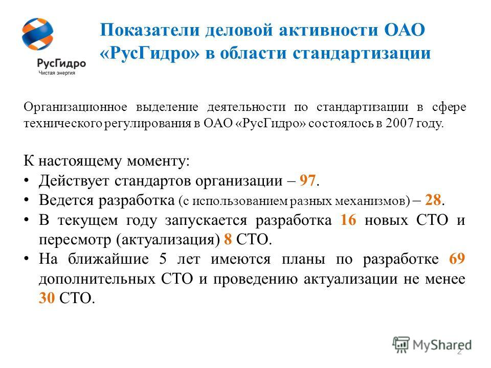 Показатели деловой активности ОАО «Рус Гидро» в области стандартизации 2 Организационное выделение деятельности по стандартизации в сфере технического регулирования в ОАО «Рус Гидро» состоялось в 2007 году. К настоящему моменту: Действует стандартов