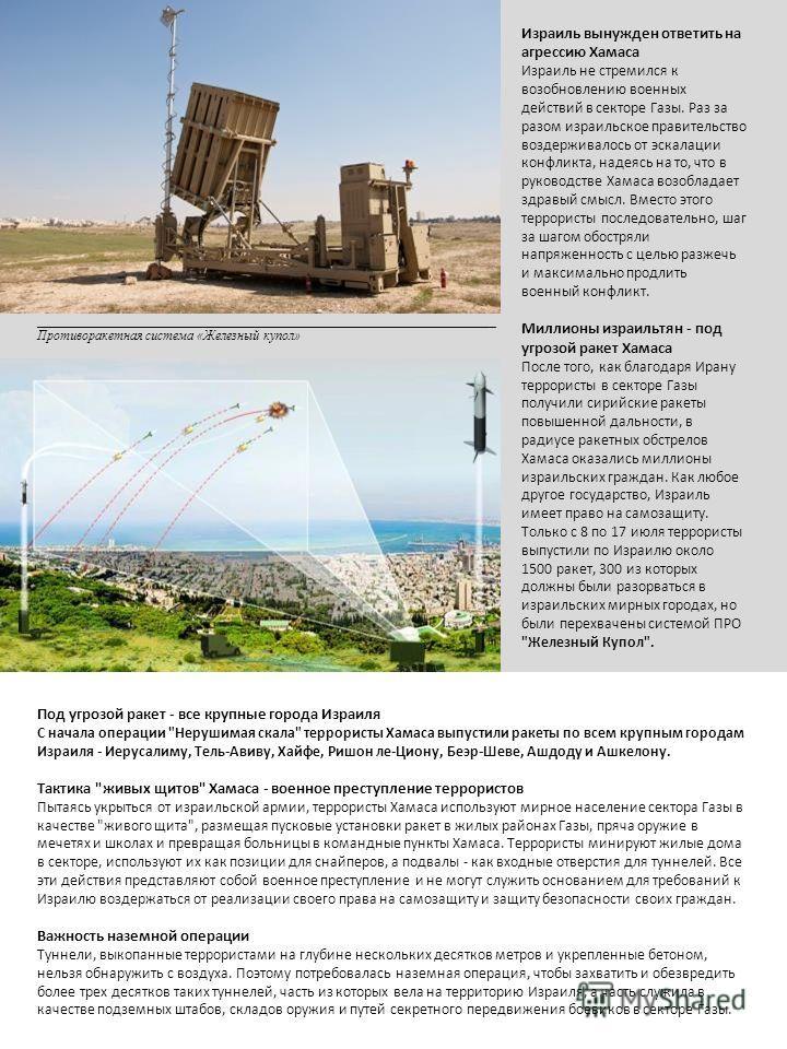Израиль вынужден ответить на агрессию Хамаса Израиль не стремился к возобновлению военных действий в секторе Газы. Раз за разом израильское правительство воздерживалось от эскалации конфликта, надеясь на то, что в руководстве Хамаса возобладает здрав