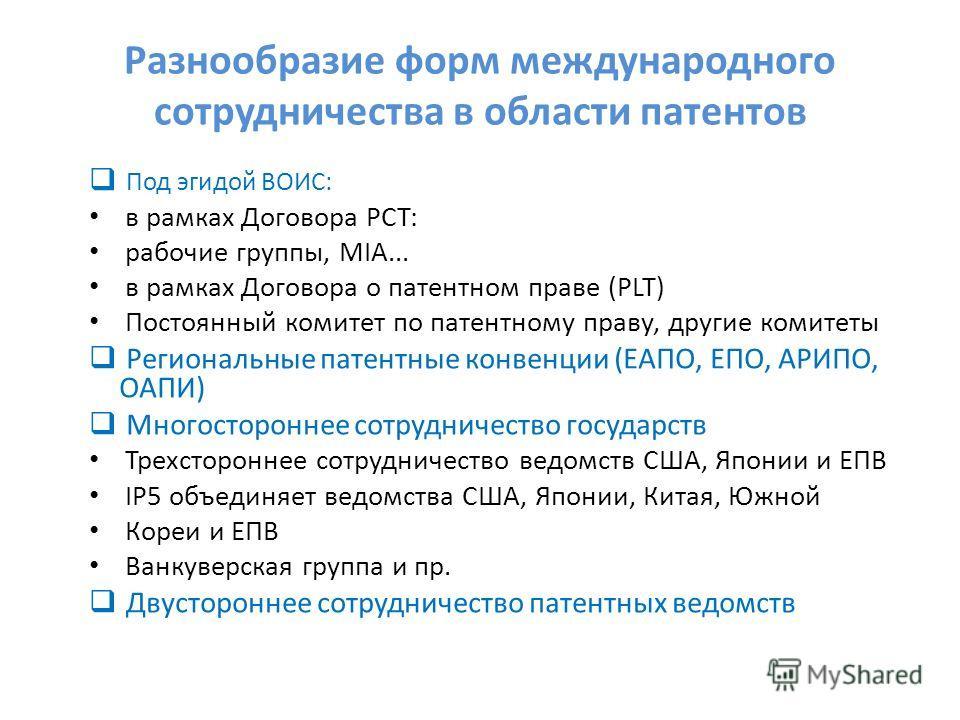 Разнообразие форм международного сотрудничества в области патентов Под эгидой ВОИС: в рамках Договора РСТ: рабочие группы, MIA... в рамках Договора о патентном праве (PLT) Постоянный комитет по патентному праву, другие комитеты Региональные патентные