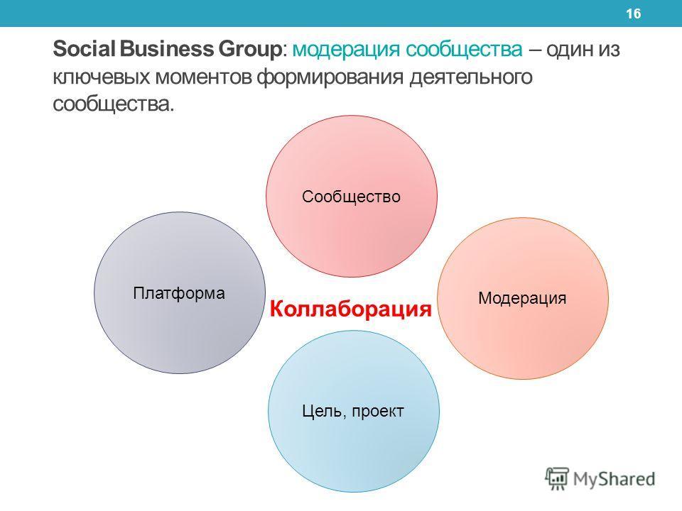 16 Коллаборация Social Business Group: модерация сообщества – один из ключевых моментов формирования деятельного сообщества. Сообщество Платформа Цель, проект Модерация