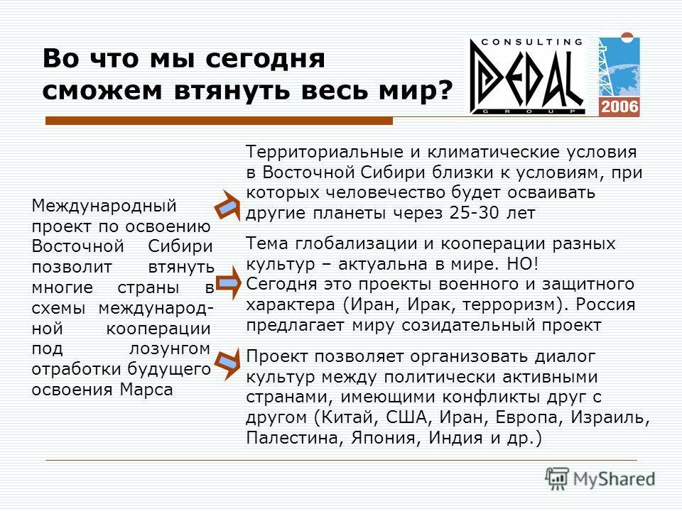 Во что мы сегодня сможем втянуть весь мир? Территориальные и климатические условия в Восточной Сибири близки к условиям, при которых человечество будет осваивать другие планеты через 25-30 лет Тема глобализации и кооперации разных культур – актуальна