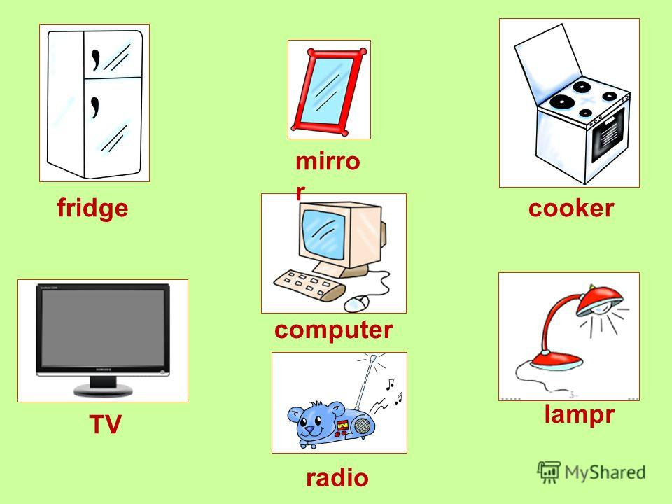 TV cooker computer mirro r lampr fridge radio
