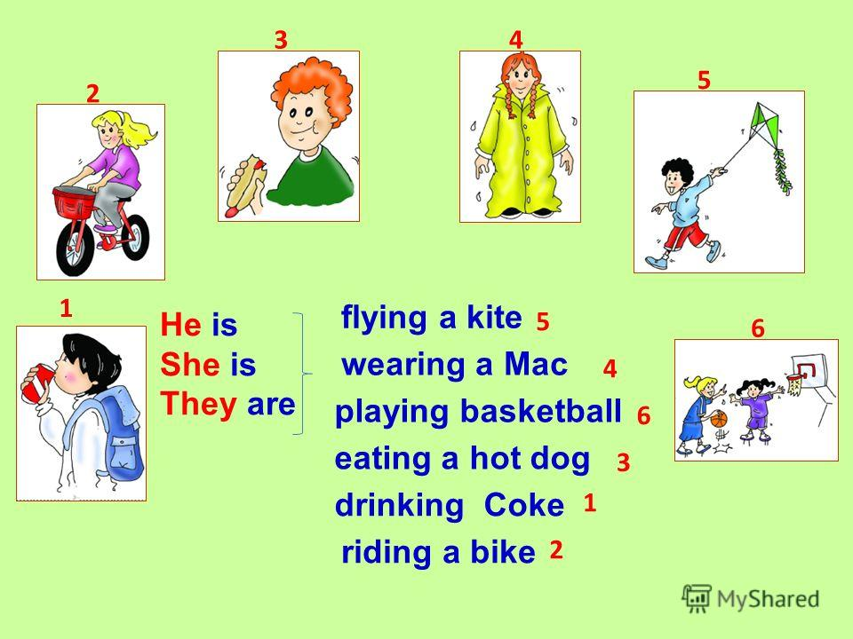 wearing a Mac playing basketball eating a hot dog drinking Coke riding a bike flying a kite He is She is They are 1 2 34 5 6 5 4 6 3 1 2