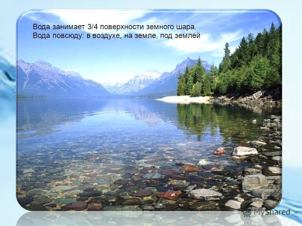 Вода занимает 3/4 поверхности земного шара. Вода повсюду: в воздухе, на земле, под землей