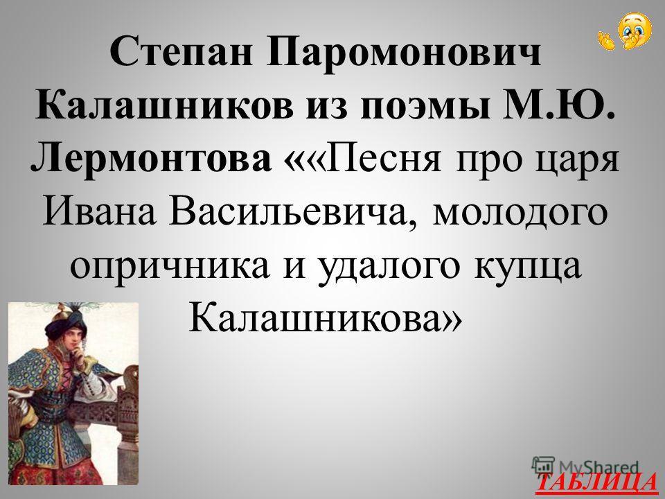 Творчество А.С. Пушкина и М.Ю. Лермонтова 200 Какой герой произнес слова: «Я скажу тебе, православный царь: Я убил его вольной волею, А за что про что – не скажу тебе, Скажу только Богу единому»?