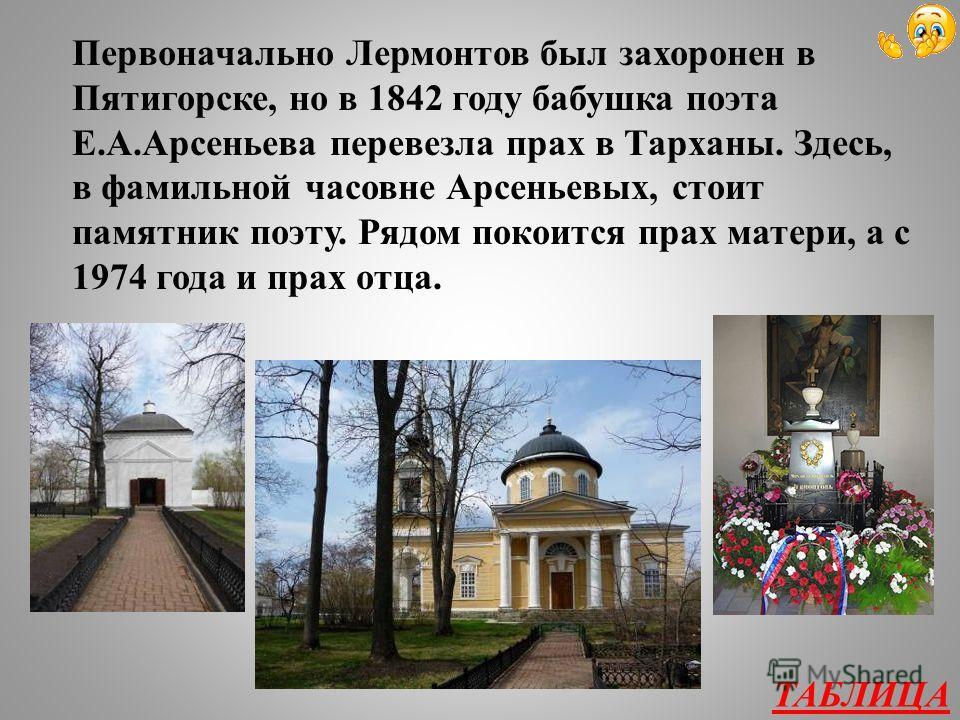 Творчество А.С. Пушкина и М.Ю. Лермонтова 300 Где находится могила М.Ю. Лермонтова?