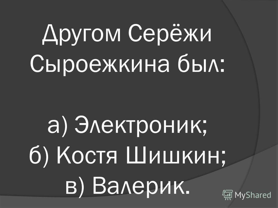 Другом Серёжи Сыроежкина был: а) Электроник; б) Костя Шишкин; в) Валерик.