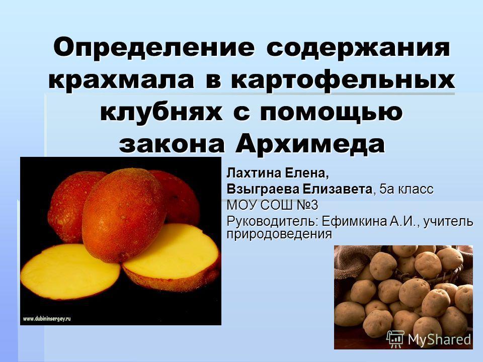 Определение содержания крахмала в картофельных клубнях с помощью закона Архимеда Лахтина Елена, Взыграева Елизавета, 5 а класс МОУ СОШ 3 Руководитель: Ефимкина А.И., учитель природоведения