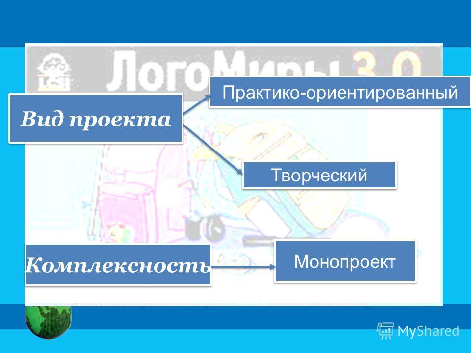 Практико-ориентированный Творческий Комплексность Монопроект Вид проекта