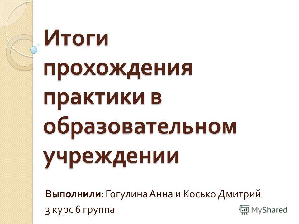 Итоги прохождения практики в образовательном учреждении Выполнили : Гогулина Анна и Косько Дмитрий 3 курс 6 группа