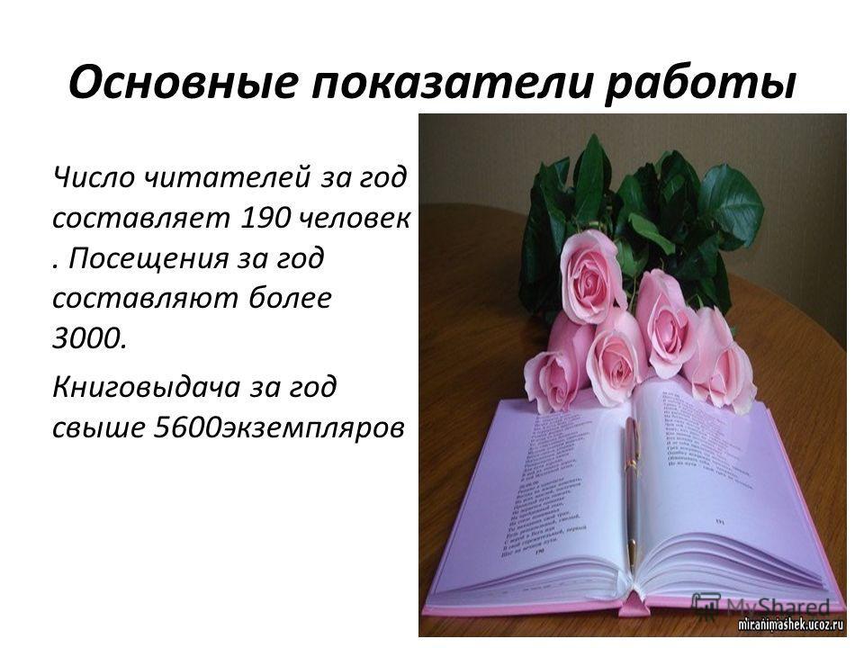 Основные показатели работы Число читателей за год составляет 190 человек. Посещения за год составляют более 3000. Книговыдача за год свыше 5600 экземпляров