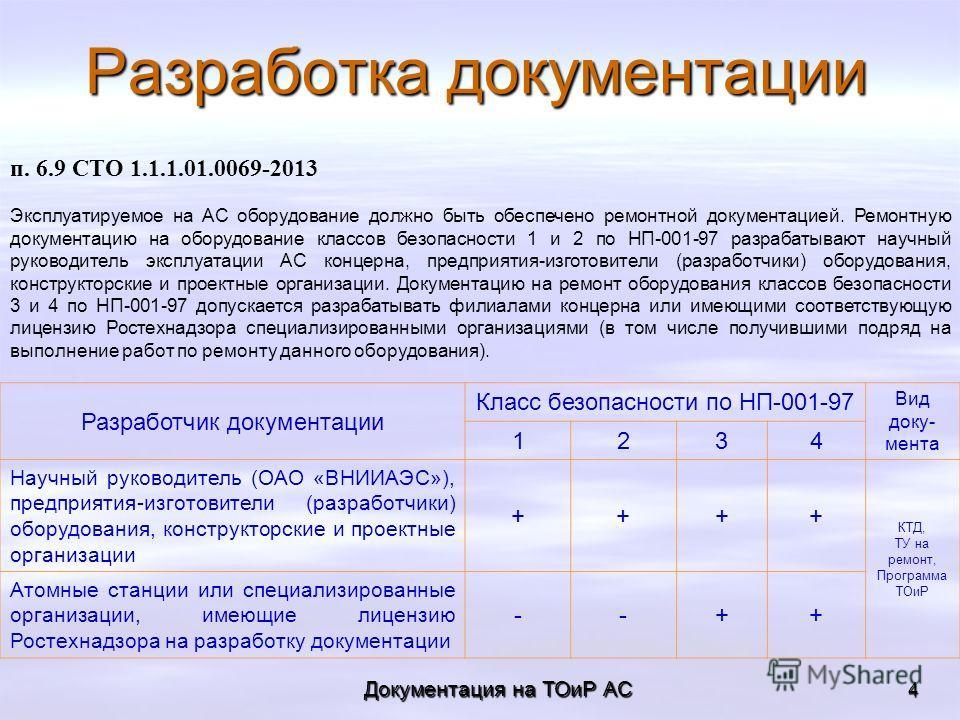 Документация на ТОиР АС 4 Разработка документации п. 6.9 СТО 1.1.1.01.0069-2013 Эксплуатируемое на АС оборудование должно быть обеспечено ремонтной документацией. Ремонтную документацию на оборудование классов безопасности 1 и 2 по НП-001-97 разрабат