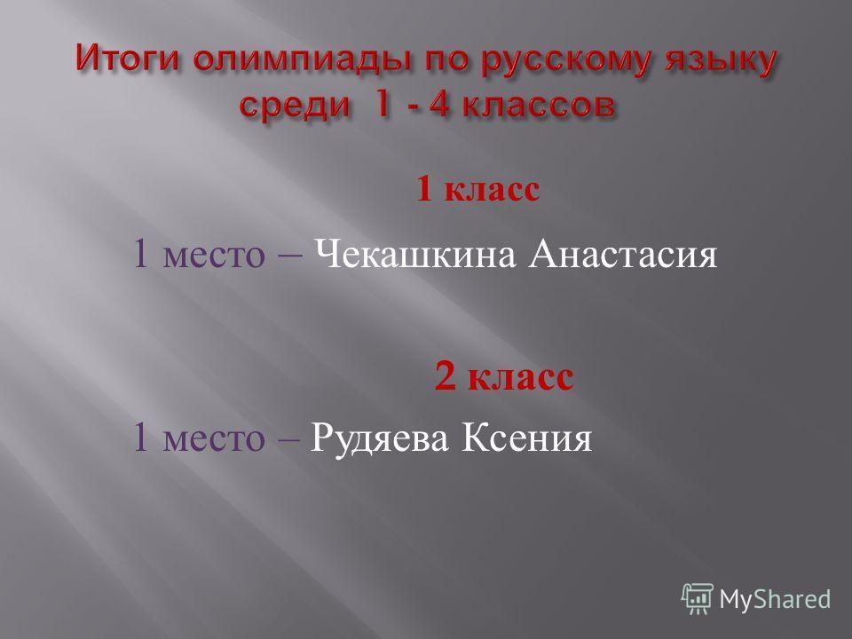 1 класс 1 место – Чекашкина Анастасия 2 класс 1 место – Рудяева Ксения