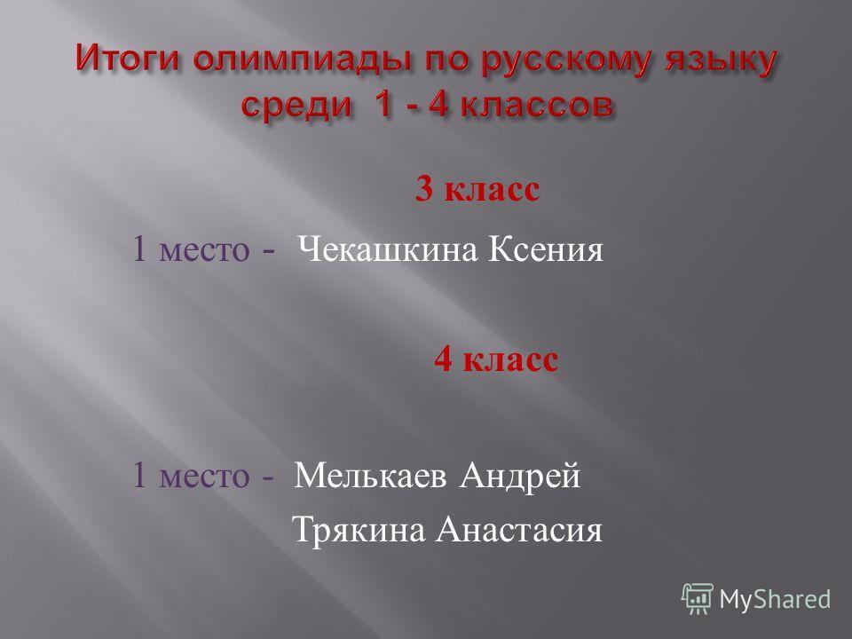 3 класс 1 место - Чекашкина Ксения 4 класс 1 место - Мелькаев Андрей Трякина Анастасия