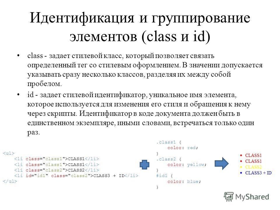 Идентификация и группирование элементов (class и id) class - задает стилевой класс, который позволяет связать определенный тег со стилевым оформлением. В значении допускается указывать сразу несколько классов, разделяя их между собой пробелом. id - з