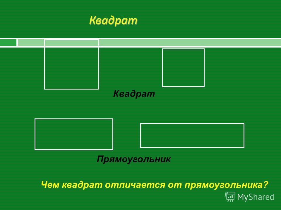 Квадрат Чем квадрат отличается от прямоугольника? Квадрат Прямоугольник