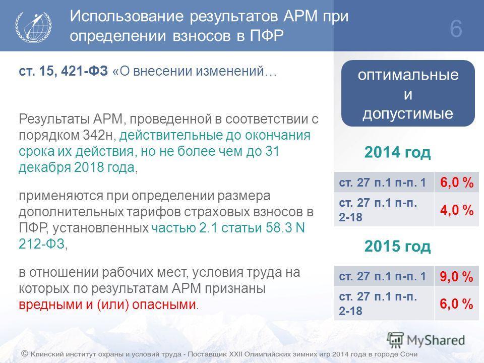 Использование результатов АРМ при определении взносов в ПФР 6 ст. 15, 421-ФЗ «О внесении изменений… Результаты АРМ, проведенной в соответствии с порядком 342 н, действительные до окончания срока их действия, но не более чем до 31 декабря 2018 года, п
